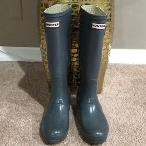 Hunter Original Gloss Tall Gray Rain Boots